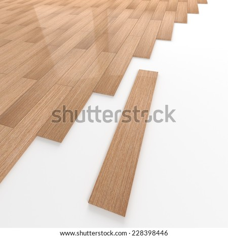 3d render of a wooden tiled floor. - stock photo