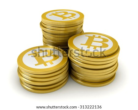 3d render of abstract bitcoin coins over white background