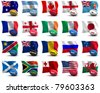 3D Render of all the participating nations in the rugby world cup. - stock photo