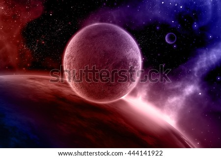 3D render of an abstract space scene with fictional planets