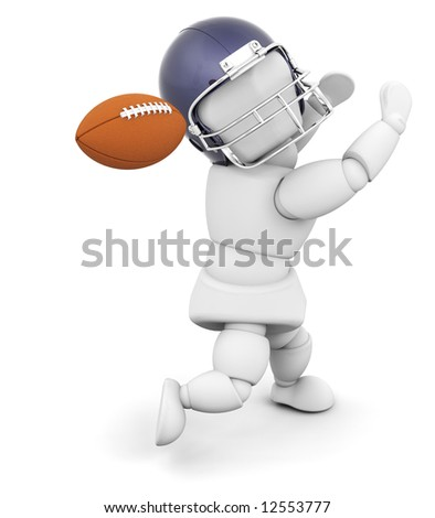 3D render of an American football player - stock photo