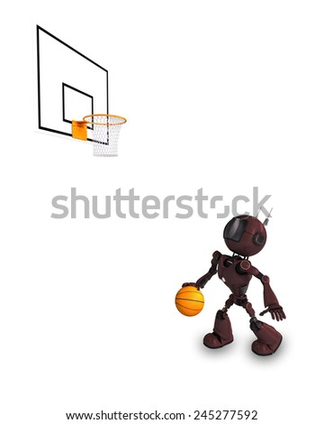 3D Render of an Android Basketball Player - stock photo