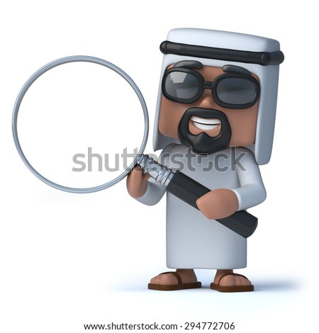 3d render of an Arab holding a magnifying glass
