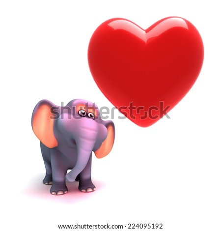 3d render of an elephant looking at a red heart