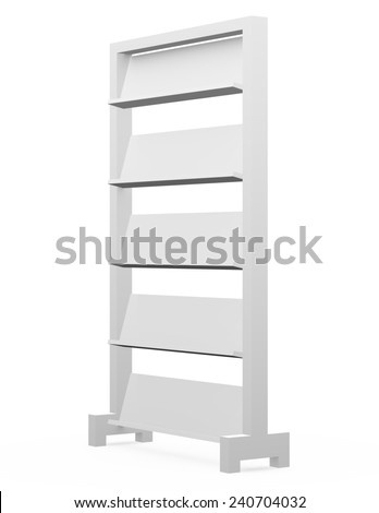 3d Render of an Empty Magazine Shelf - stock photo
