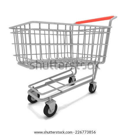 3d render of an empty shopping trolley - stock photo