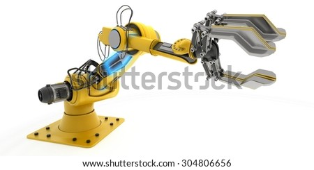 3D Render of an Industrial Robot Arm - stock photo
