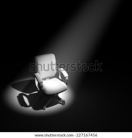 3d render of an office chair in a spotlight - stock photo