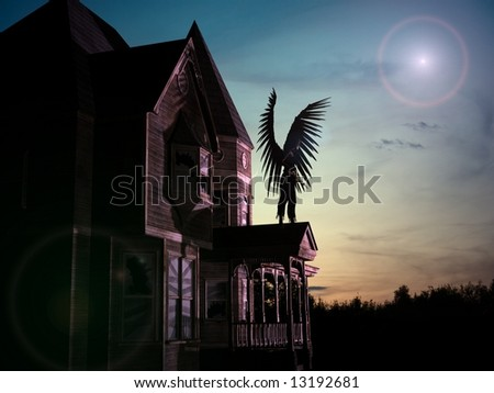 3D render of an old, abandoned wooden house with star, sunset background and an angel with black wings and sword. - stock photo