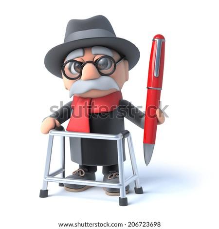 3 D Render Old Man Walking Frame Stock Illustration 206723698 ...