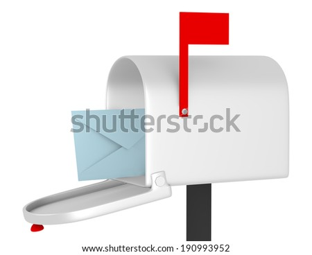 3d Render of an Open Mail Box with an Envelope - stock photo