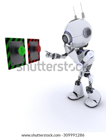 3D Render of an Robot choosing which button to push - stock photo