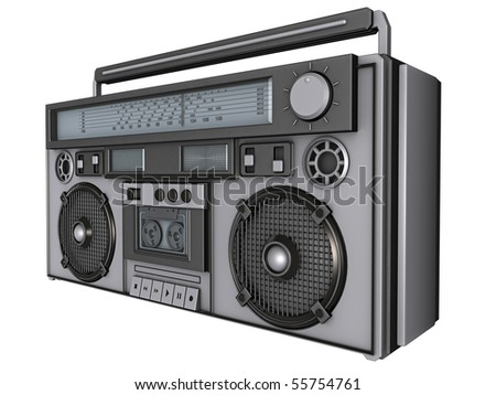 3D Render of an 80's boombox. - stock photo