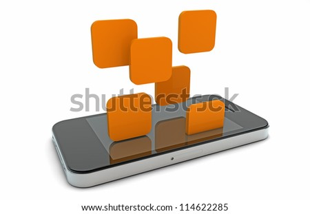 3d render of an smart phone with falling apps