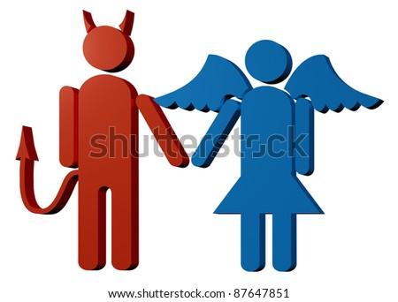 3D render of angel and demon symbol of bad and good - stock photo