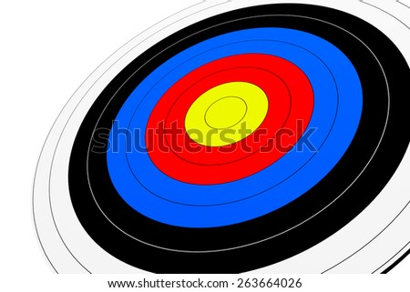 3d render of archery target isolated on white background