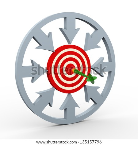 3d render of arrows in circular shape pointing to target having hit by dart. Concept of success and target achieved. - stock photo