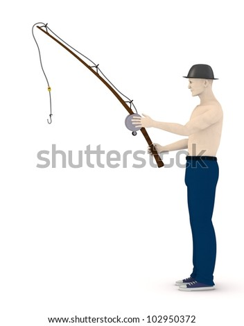 3d render of artificial character with fishing rod