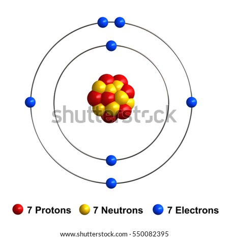 3 D Render Atom Structure Nitrogen Isolated Stock Illustration