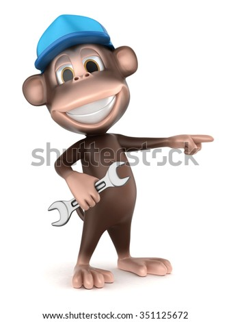 3d render of auto mechanic monkey holding a wrench pointing to the right - stock photo