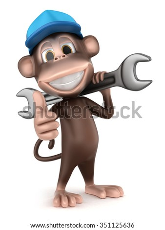 3d render of auto mechanic monkey with big wrench showing thumbs up sign - stock photo