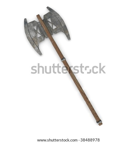 3d render of axe (weapon) - stock photo
