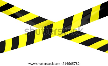 3D render of Barrier tape. Yellow and black colors.