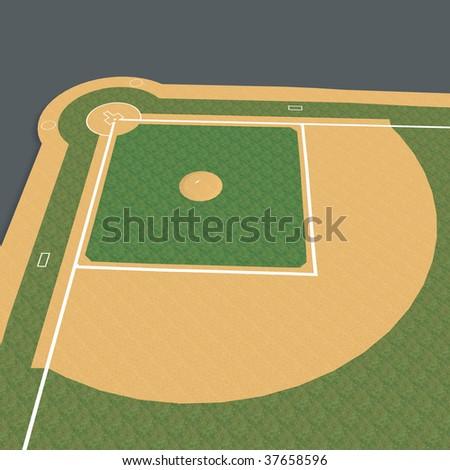 3D Render of baseball diamond - stock photo