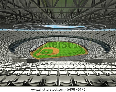 3D render of baseball stadium with white seats for hundred thousand people with VIP boxes