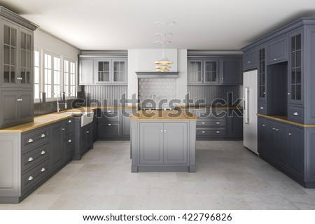 3d render of beautiful classic kitchen interior - stock photo