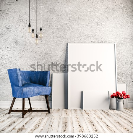 3d render of beautiful clean interior with blank frames and wooden floor - stock photo