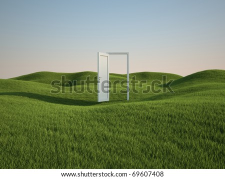 3d render of beautiful grass field with opened white door (clipping path) - stock photo