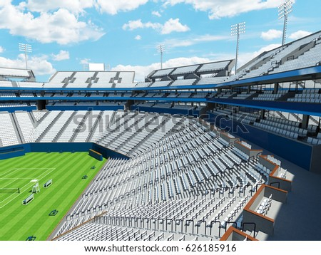3D render of beautiful large modern tennis grass court stadium for fifteen thousand fans with white chairs