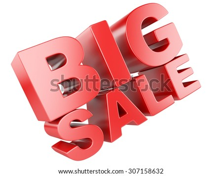 3D render of Big Sale Word isolated on a white background - stock photo