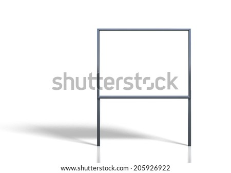 3d render of blank signage stands white background - stock photo