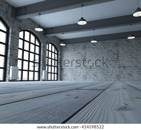 3d render of Blank wall in empty room with windows