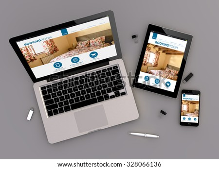 3d render of booking website responsive devices with laptop computer, tablet pc and touchscreen smartphone. Zenith view. All screen graphics are made up. - stock photo