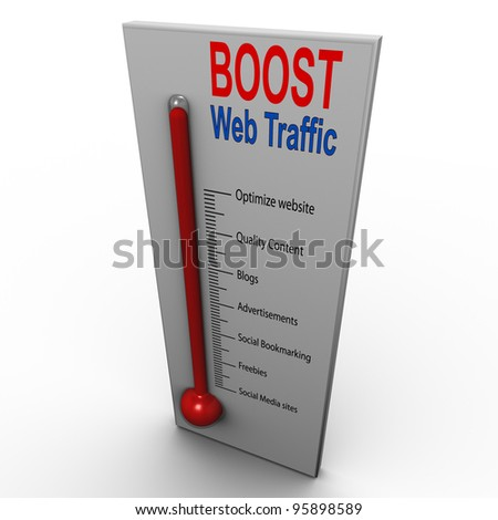 3d render of boost web traffic thermometer - stock photo