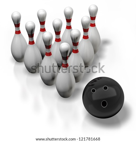 3d render of bowling isolated on white background. High resolution