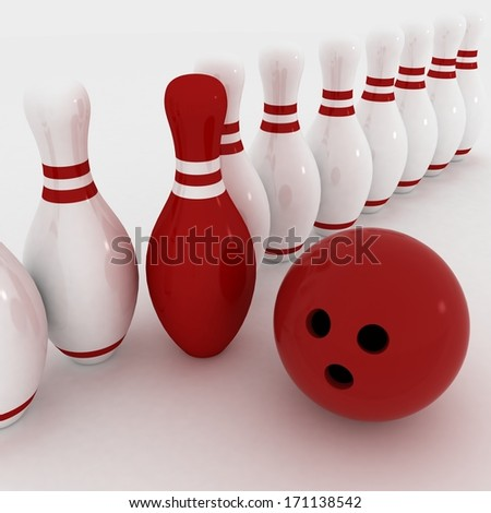 3d render of bowling on white background  - stock photo