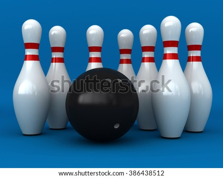 3d render of bowling pins and ball over blue background - stock photo