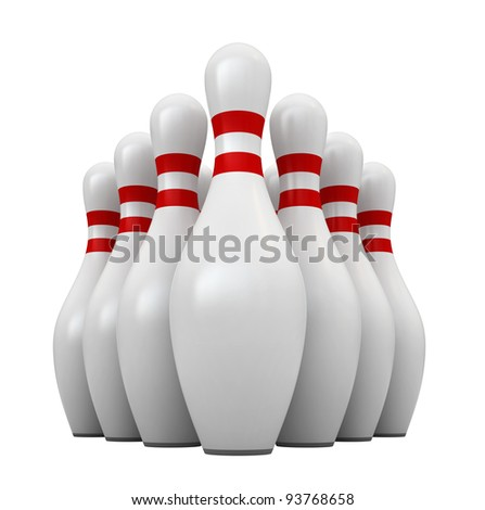 3d render of bowling pins isolated over white background - stock photo