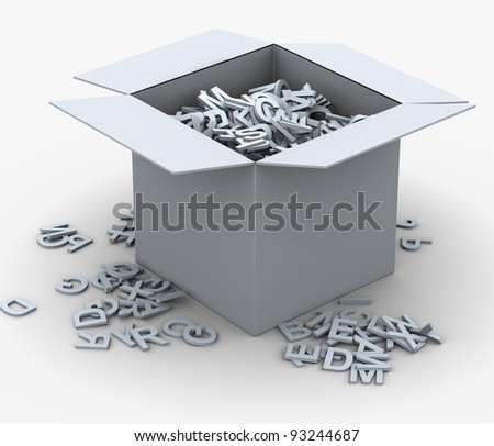 3d render of box fill with alphabets. Concept of eduction and learning - stock photo
