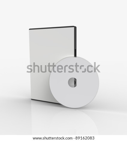 3d render of  box for DVD with a disk - stock photo