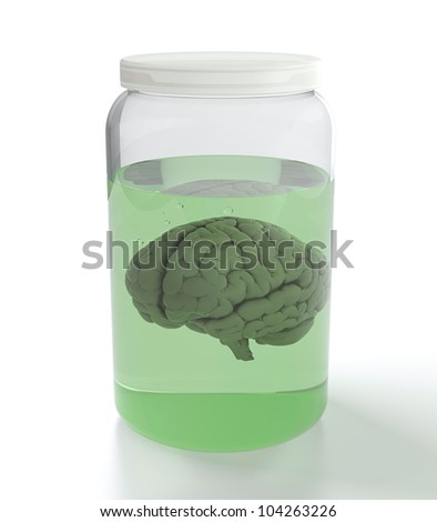 3D render of brain in jar with green liquid on white background - stock photo