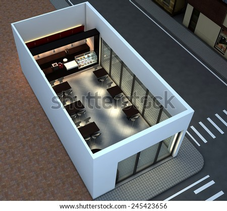 3D render of bright coffee shop interior - stock photo