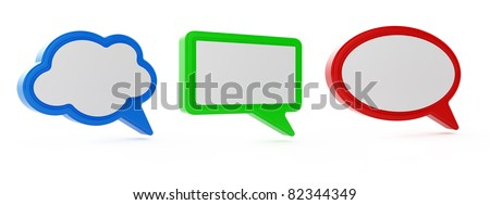 3d render of  bubble speech windows isolated on white - stock photo
