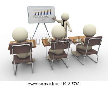 3d render of businessman presenting business financial position. 3d illustration of human character. - stock photo