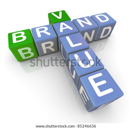 3d render of buzzword crossword brand and value - stock photo
