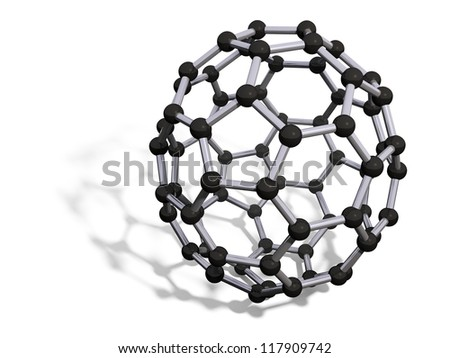3d render of C70 carbon fullerene with soft shadow isolated on white - stock photo